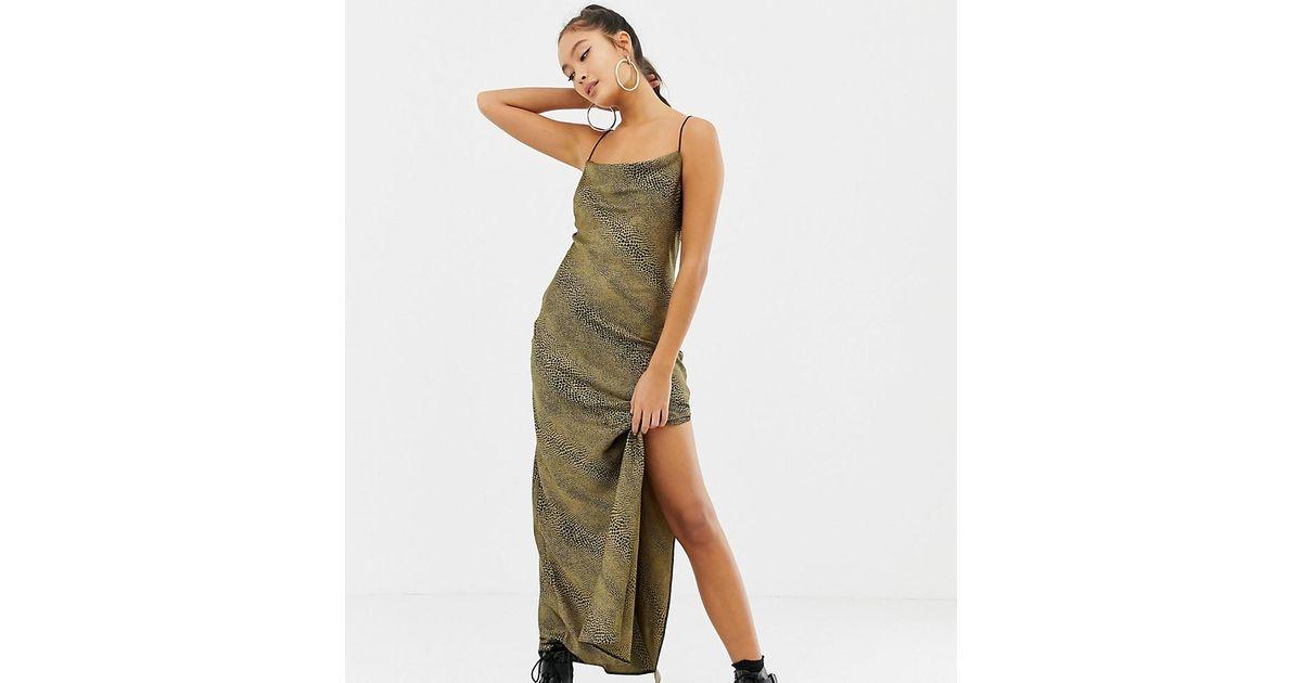 3d61e646989354 Collusion Snake Print Maxi Slip Dress in Green - Lyst
