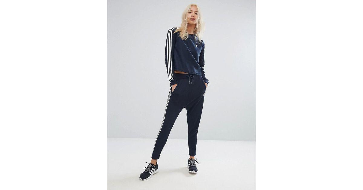 Adidas Originals Blue Originals Three Stripe Low Crotch Knitted Trouser In Navy