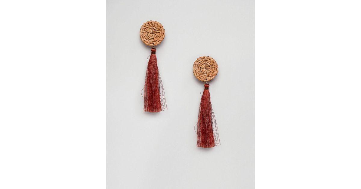wicker disc tassel earring in rust - Rust Mango dMUlAM