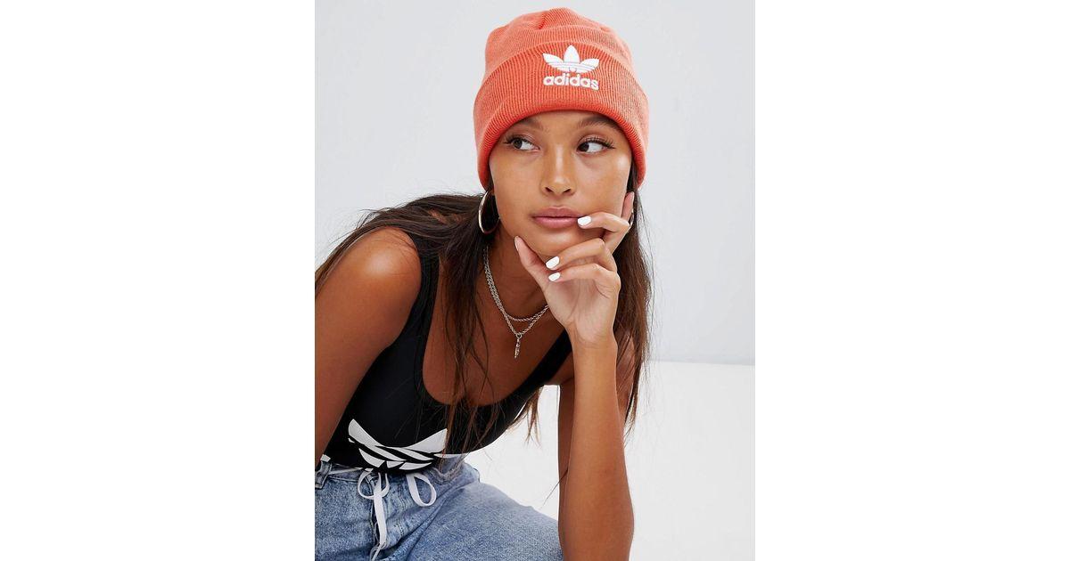 61821a5b5 Adidas Originals Embroidered Logo Beanie In Orange