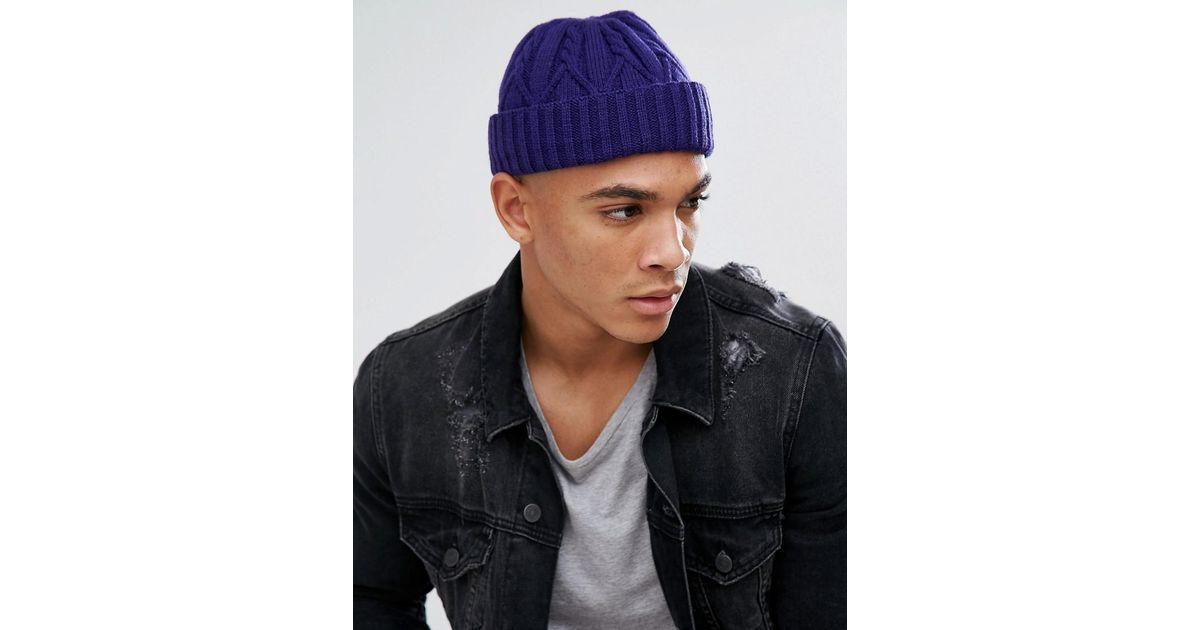 b0b0f6f7a19 Lyst - ASOS Asos Mini Fisherman Beanie In Purple Cable Knit in Purple for  Men