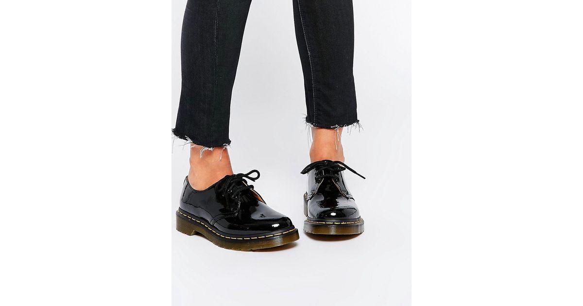 82c9b9b76d702 Dr. Martens 1461 Classic Black Patent Flat Shoes in Black - Lyst