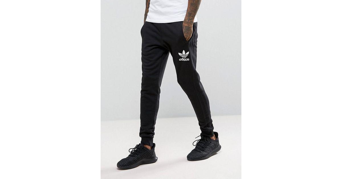 3beca26d Adidas Originals 3 Stripe Jogger In Black Bs4629 for men