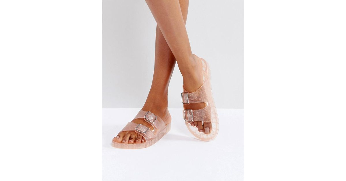 Clear Glitter Jelly Sandal in Pink