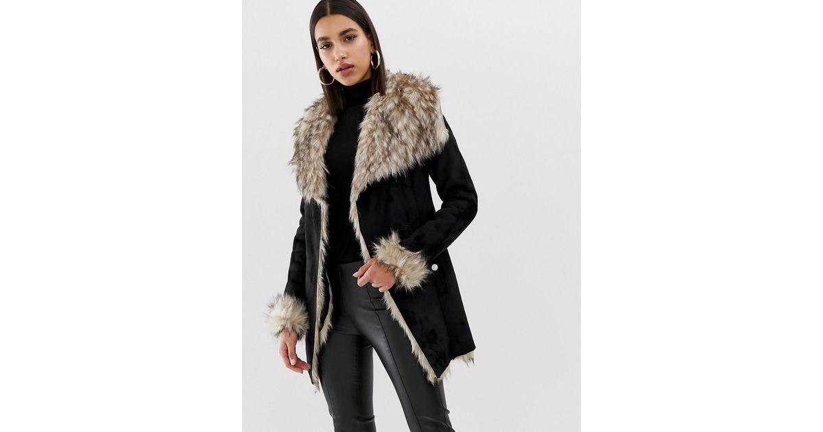 3a0d680dc8c Lipsy Bonded Faux Fur Wrap Jacket In Black