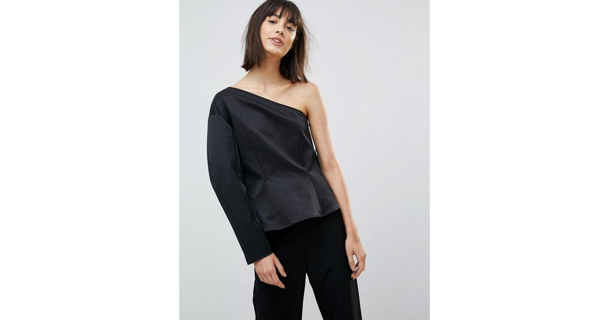 cd93fa796bb Weekday Press Collection Rogue One Shoulder Top in Black - Lyst
