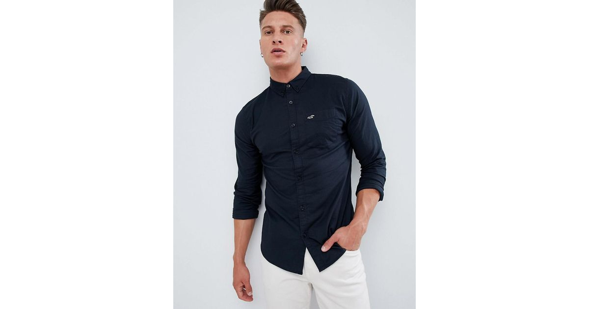 a985fd7d Hollister Oxford Modern Button Down Collar Solid Shirt Slim Fit In Black in  Black for Men - Lyst