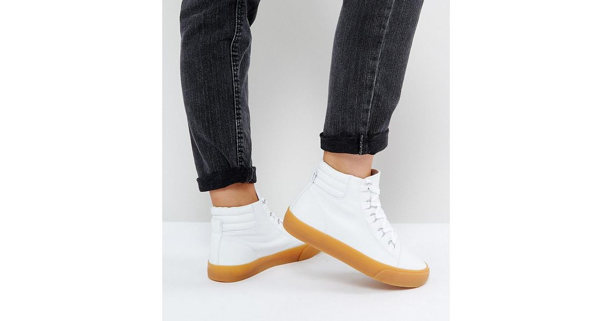 9d3578221b Asos Dollar Bill Wide Fit Lace Up Hiker Hi Tops in White - Lyst