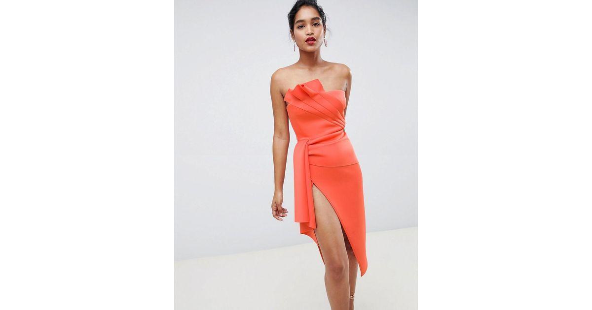 style exquis vente chaude authentique coupe classique Robe moulante mi-longue très fendue sur le devant motif origami en néoprène  ASOS en coloris Orange