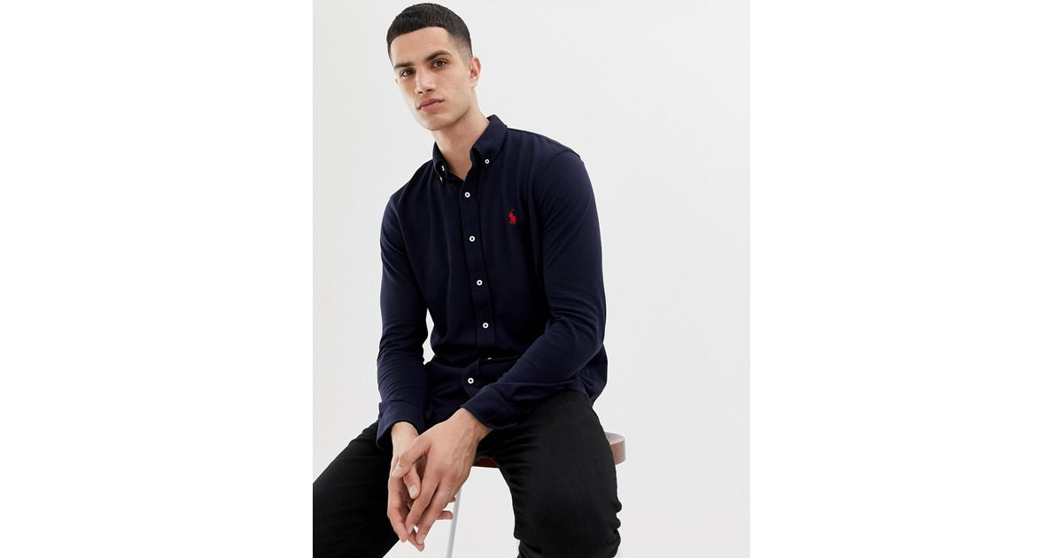 43a9d44c Polo Ralph Lauren Slim Fit Pique Shirt Player Logo Button Down In Navy in Blue  for Men - Save 13% - Lyst