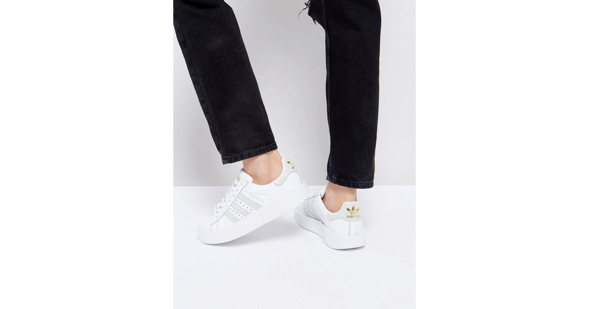 bliżej na informacje dla trampki Adidas Originals Originals White And Mint Superstar Bold Sole Sneaker