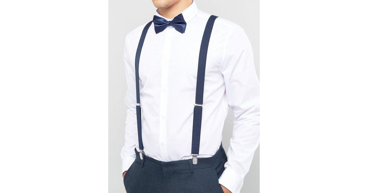 c0d6c0863cf9 ASOS Bow Tie And Suspenders Gift Set In Navy in Blue for Men - Lyst