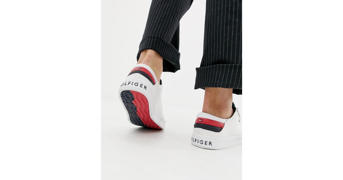 Tommy Hilfiger Long Lace Canvas Icon Stripe Back Trainer In White for men