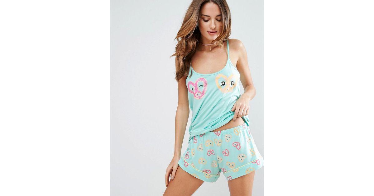 Chelsea Peers Pretzel Cami Pyjama Set In Green Lyst