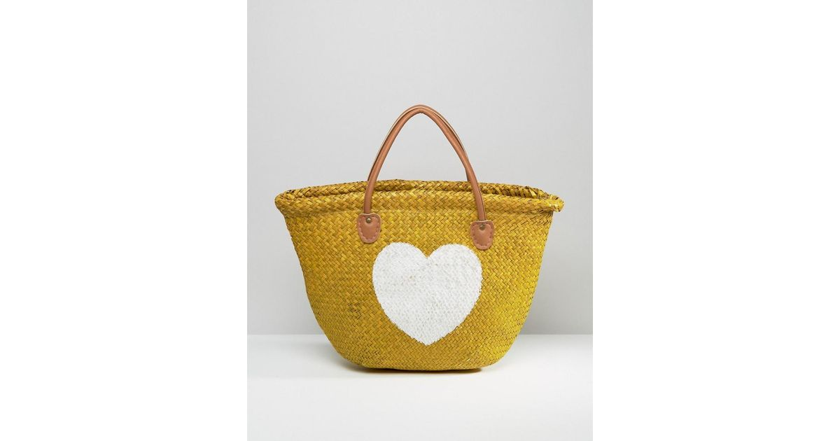 Women's Natural Painted Heart Straw Tote Bag