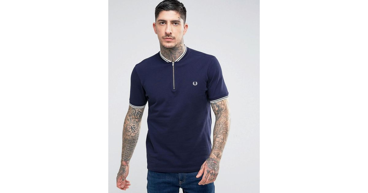 fc47f824915 Fred Perry Blue Slim Fit Polo With Bomber Neck & Zip In Navy for men