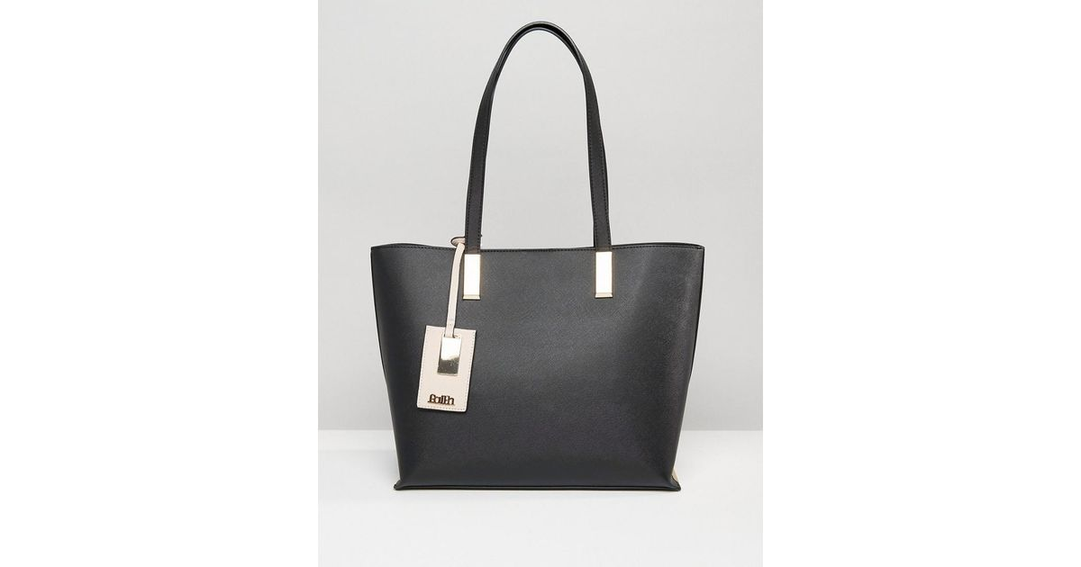 c4951908e7d Faith Evelyn Tag Detail Tote Bag in Black - Lyst