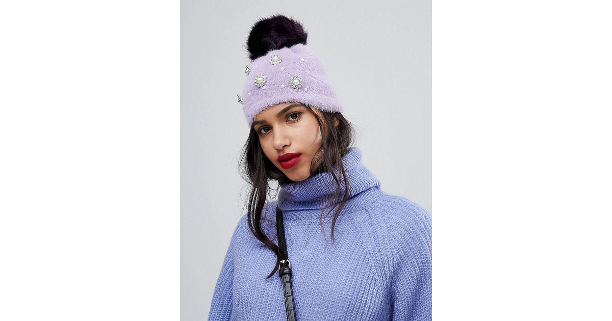 Lyst - River Island Faux Pearl Studded Beanie Hat in Purple f047f451560