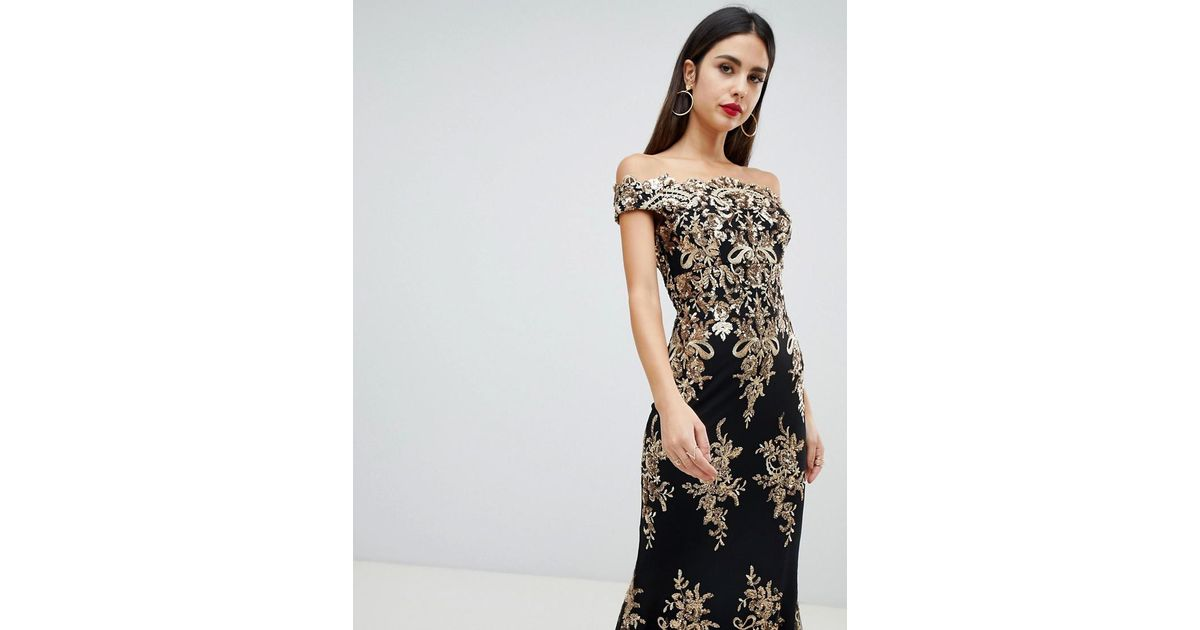 Goddiva Blue Off Shoulder Bardot Placement Lace Maxi Dress In Black And Gold