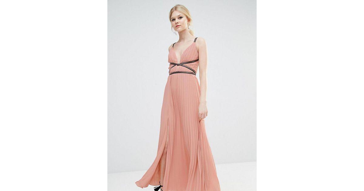 True Decadence Grecian Style Maxi Dress In Pleat Fabric in Pink - Lyst