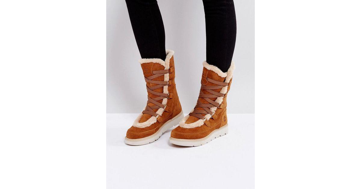 Timberland Brown Kenniston Muk Tall Tan Faux Fur Boots