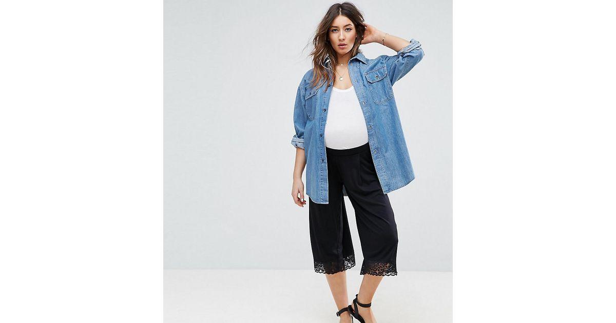 baa10f7d98 Lyst - Asos Lace Hem Wide Leg Crop Trouser in Black