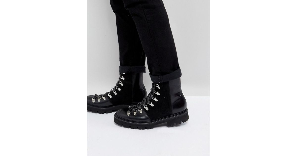d091e9e8d88 GRENSON Black Brady Tall Hiking Boots for men