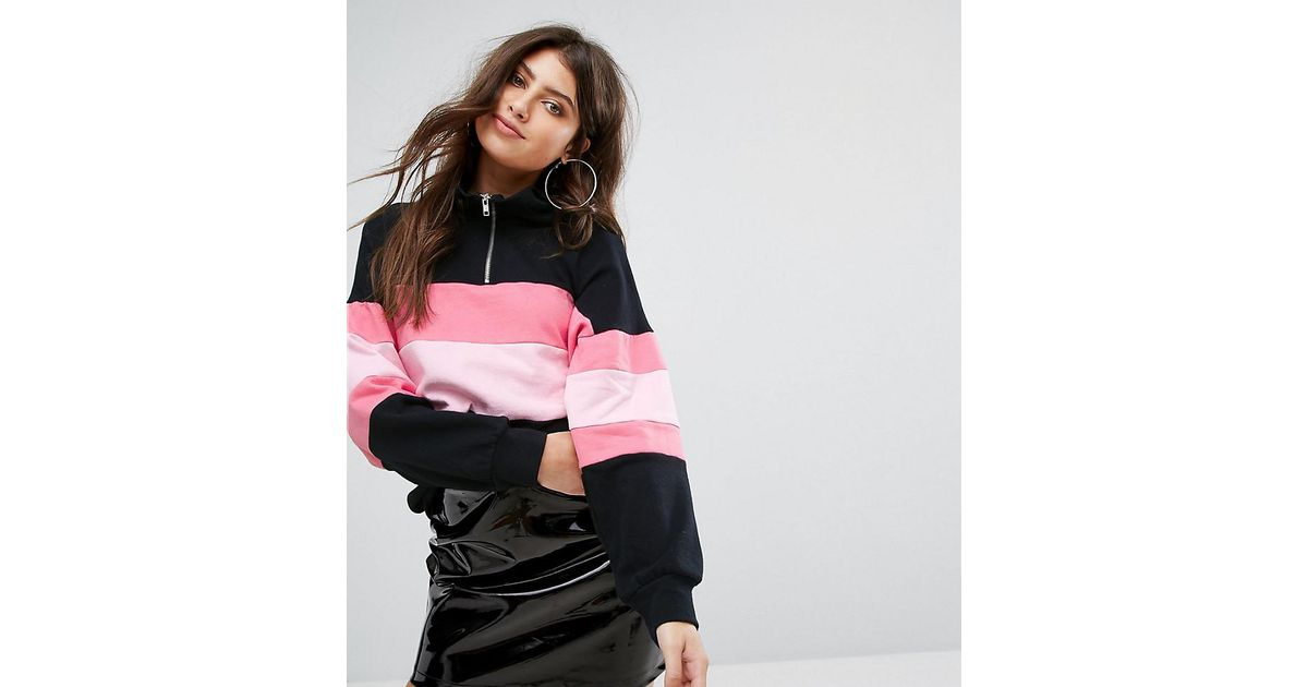 d6963f81dc Lyst - PrettyLittleThing Zip Collar Stripe Top in Black