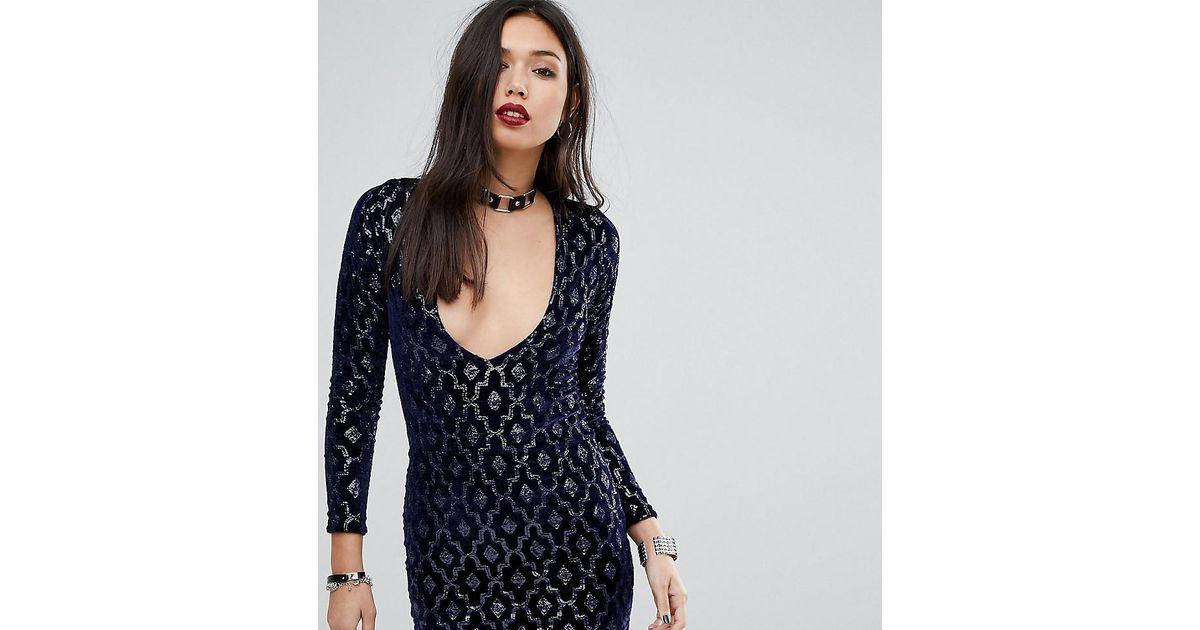 Lyst - Motel Deep V Plunge Mini Dress In Baroque Sequin in Blue 3bf418b5f
