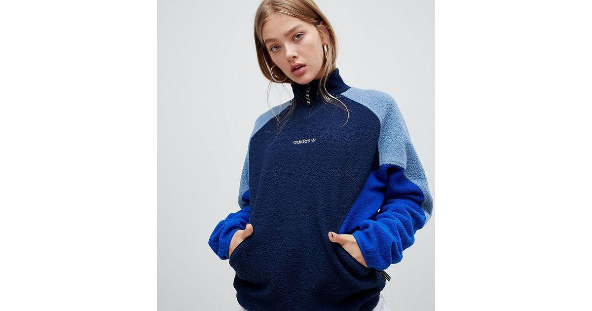 a8631eaeda6f Lyst - adidas Originals Adidas Eqt Polar Fleece Jumper In Navy in Blue