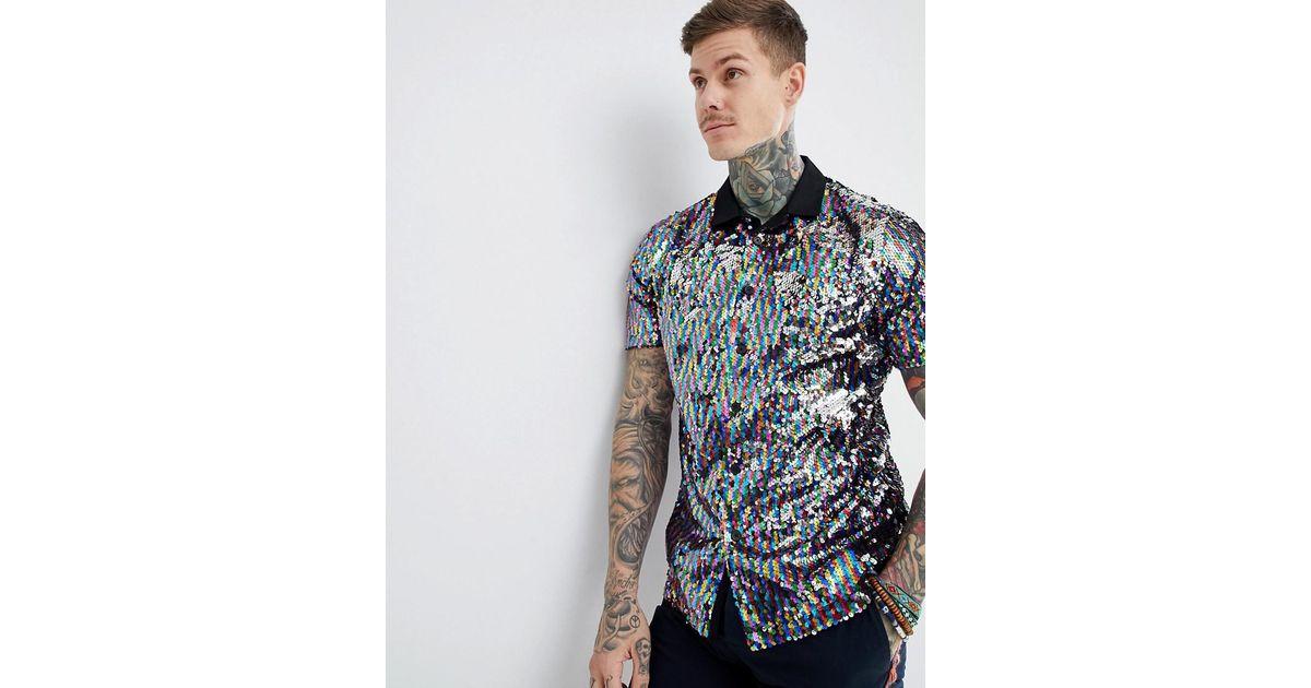 8080a63746 Lyst - ASOS Festival Regular Fit Sequin Shirt in Blue for Men