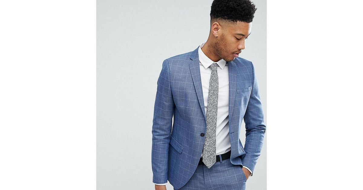 0d9d427bc565 SELECTED Skinny Fit Suit Jacket In Navy Grid Check in Blue for Men - Lyst