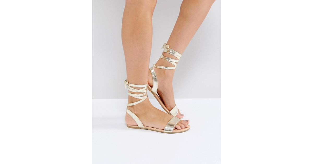 Lyst Asos Fiona Tie Leg Sandals In Metallic
