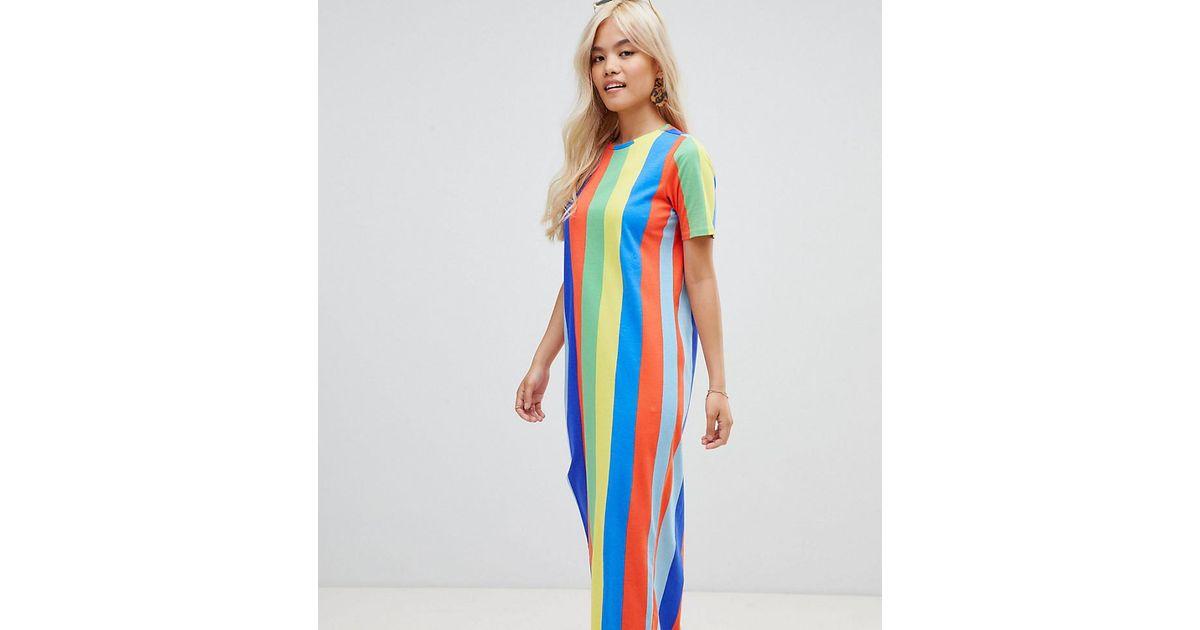 ASOS Blue Asos Design Petite Ultimate T-shirt Maxi Dress In Rainbow Stripe