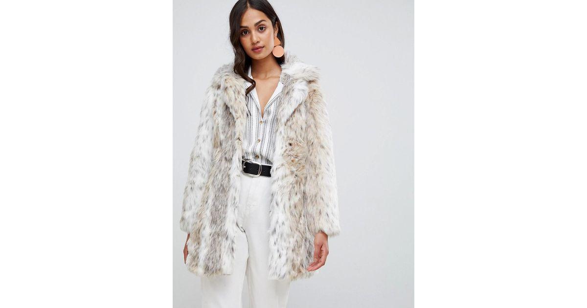 64291bbf1bff3 New Look White Faux Fur Snow Leopard Coat