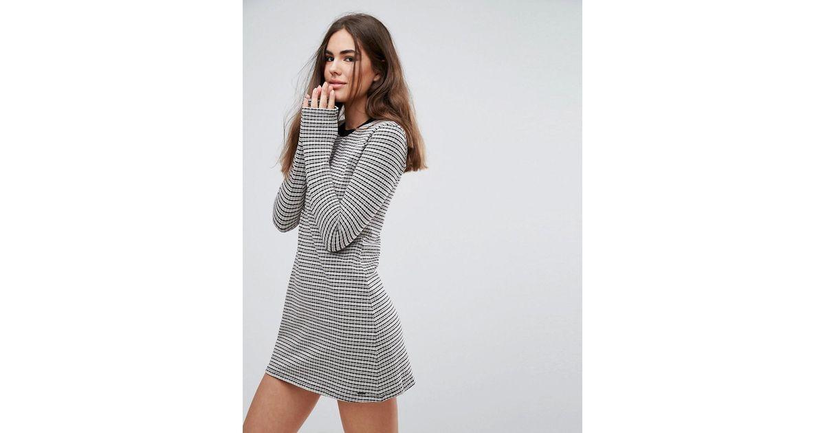 8a7dde042397 Pepe Jeans Edie Knit Stripe Dress in Gray - Lyst