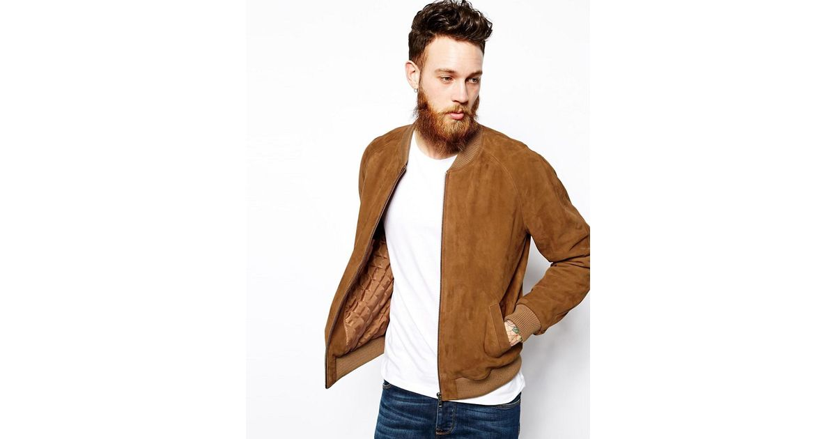 super cheap best cheap on wholesale ASOS Brown Suede Bomber Jacket In Tan for men