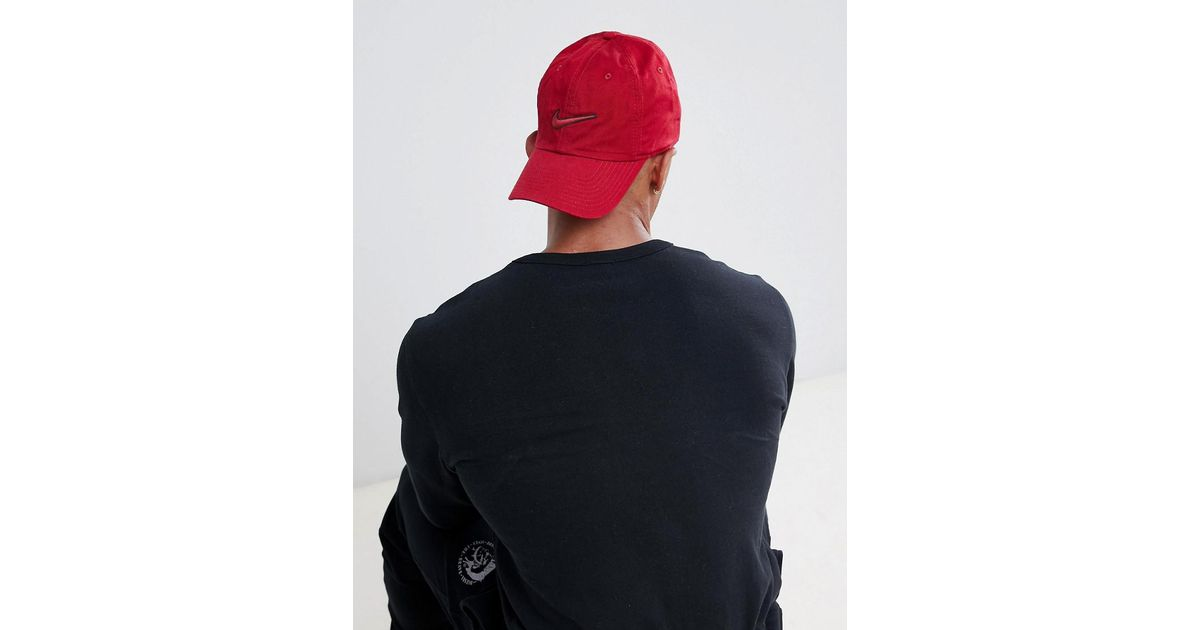 68851b2ce4c Nike Embroidered Swoosh Cap In Red 943091-618 in Red for Men - Lyst
