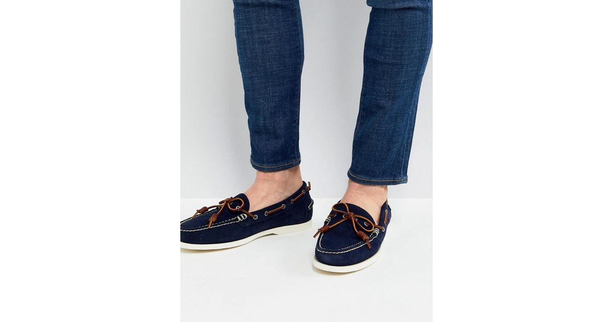 Polo Ralph Lauren Millard Suede Slip On Boat Shoes In Navy in Blue for Men  - Lyst 445076e3ab5