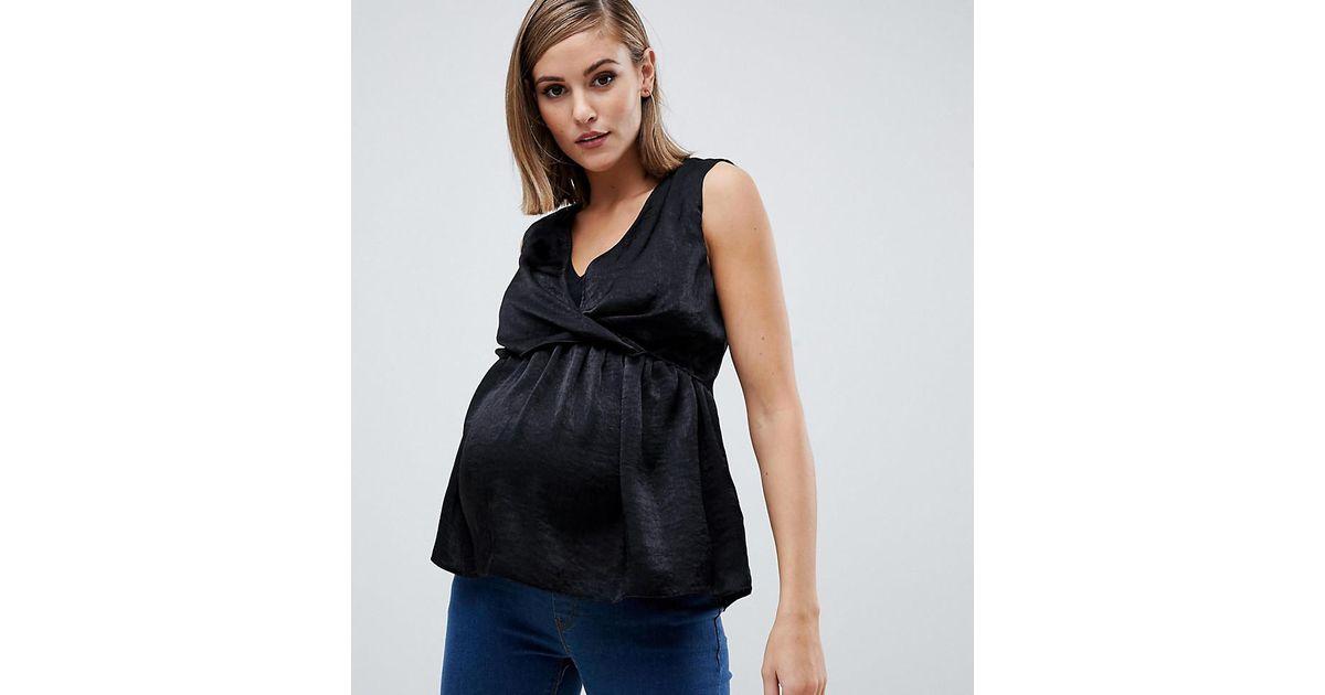 0e2970e05e4 Lyst - ASOS Asos Design Maternity Wrap Front Nursing Top In Satin in Black