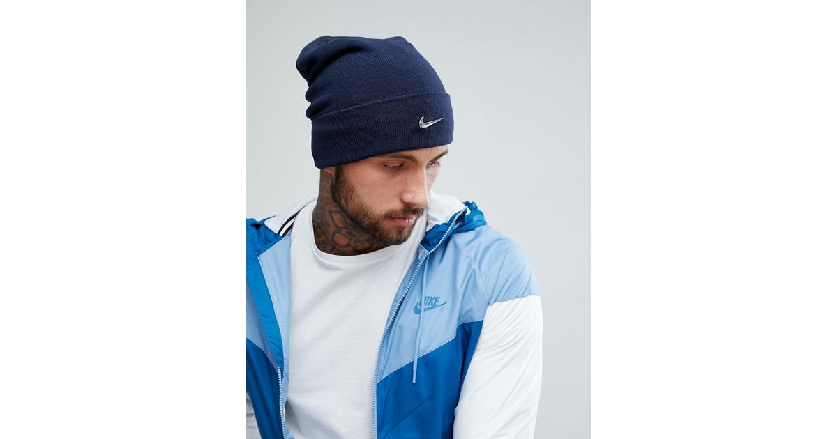 b3c52fa1 Nike Metal Swoosh Beanie In Navy 803734-451 in Blue for Men - Lyst