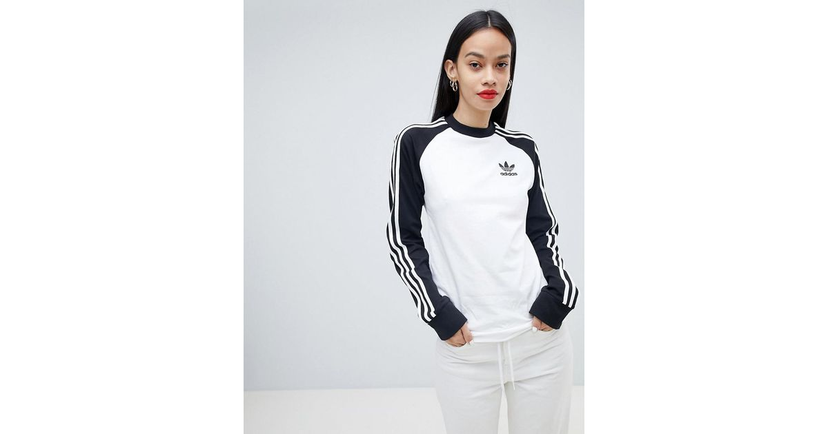 8ad322c52b15 Lyst - adidas Originals Three Stripe Long Sleeve T-shirt In Black And White  in White