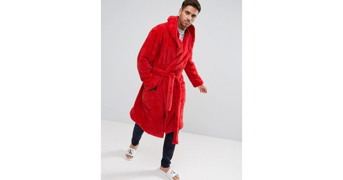 50b1179522 ASOS Hooded Robe In Fleece in Red for Men - Lyst