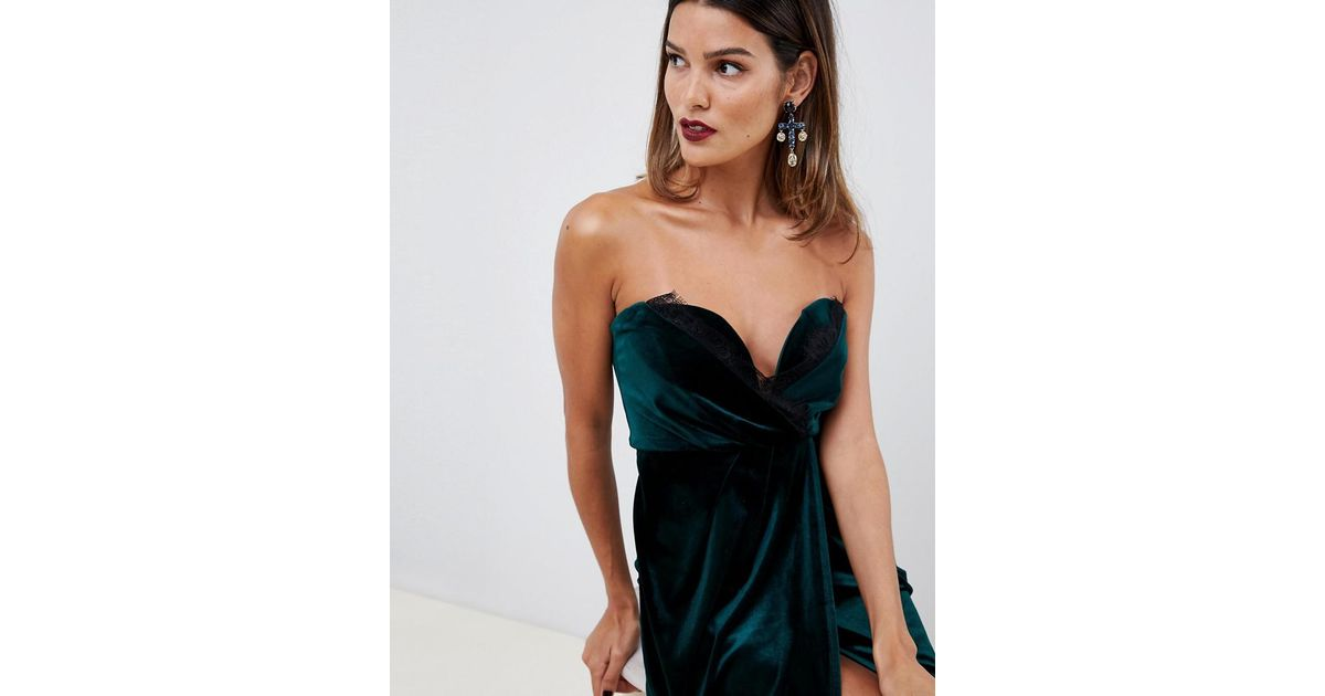38e1c0aa45 Lyst - ASOS Velvet Wrap Bandeau Midi Dress With Lace Trim in Green