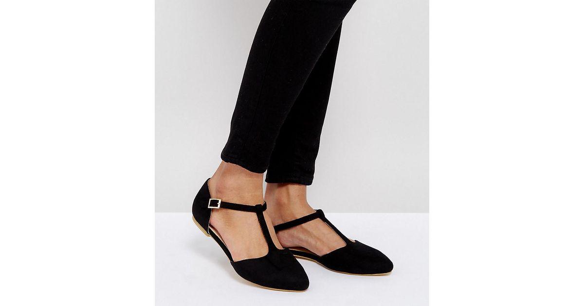 London Rebel Wide Fit Flat Tbar Shoe in