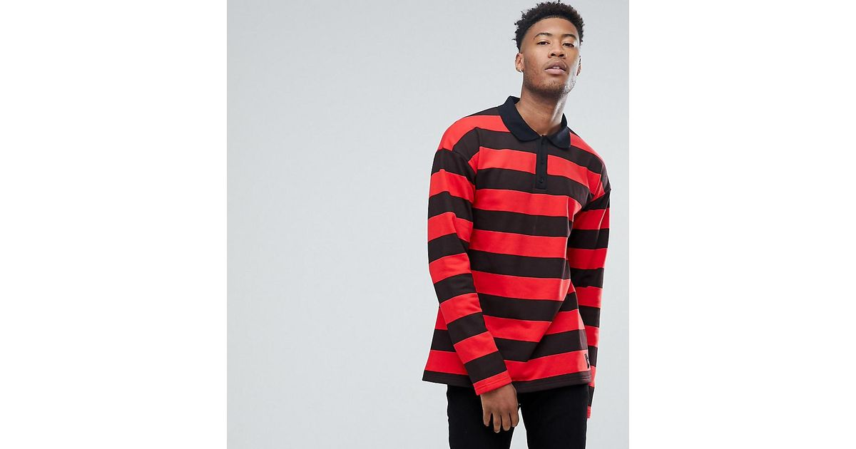 Sixth June Tall Oversized Rugby Polo Shirt In Black With Red Stripes For Men