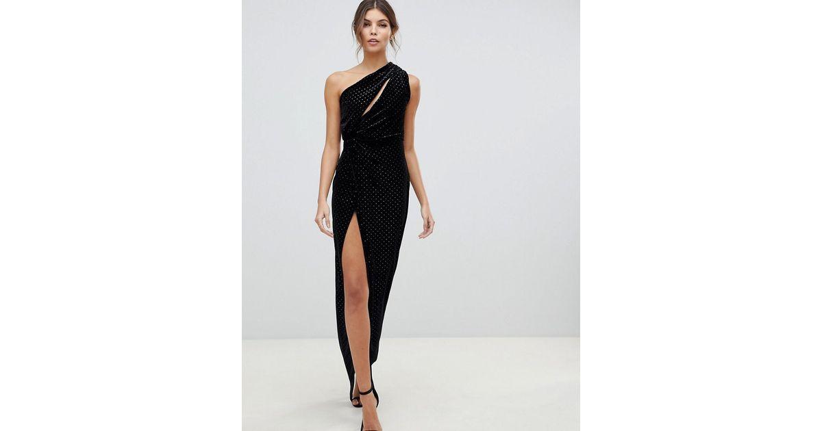 d19b5bbb9f825 ASOS One Shoulder Sparkle Velvet Maxi Dress in Black - Lyst