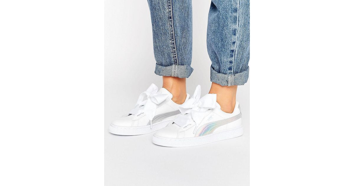 PUMA Leather Basket Heart Sneakers With