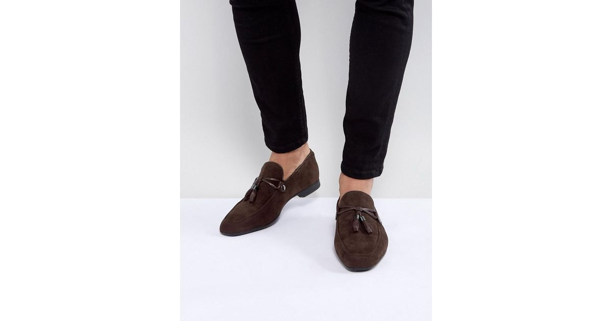 4f17d585883 Lyst - ASOS Asos Loafers In Brown Faux Suede With Tassel Detail in Brown  for Men