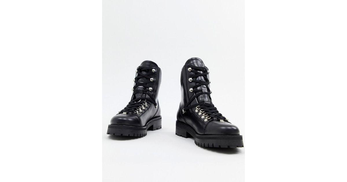 1ed3c77960660f Lyst - AllSaints Franka Hiking Boot in Black